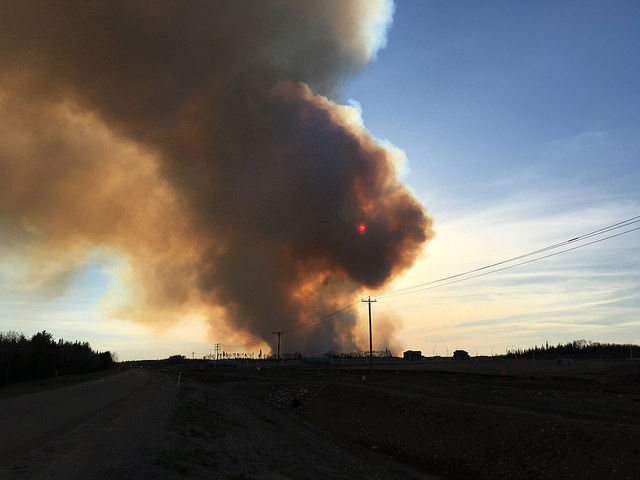 Smoke from the wildfires in Fort McMurray fills the sky