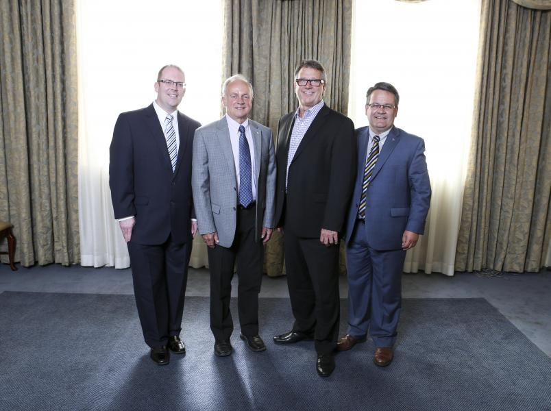 Atlantic Canadian health ministers from left: Steve Kent of Newfoundland and Labrador, host Leo Glavine, Doug Currie of Prince Edward Island, and Victor Boudreau of New Brunswick.