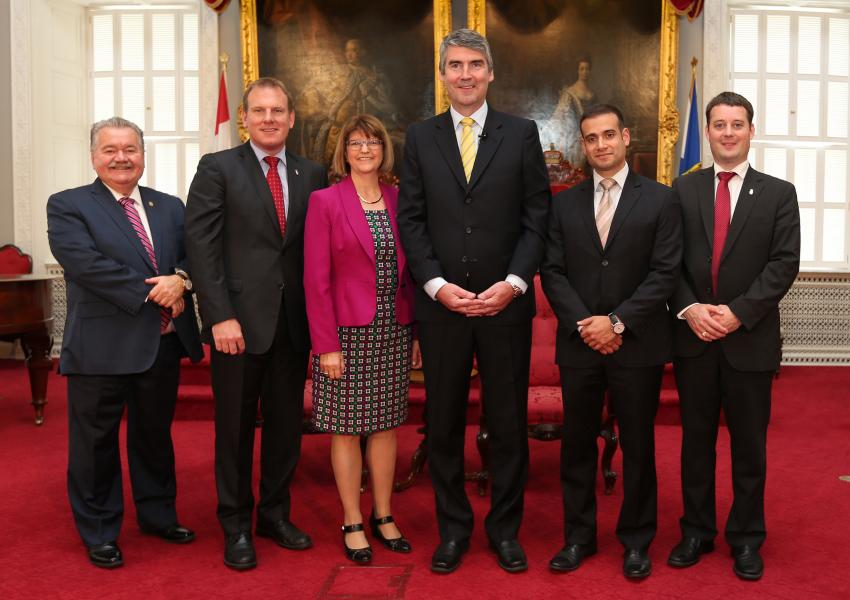From left to right: Natural Resources Minister Lloyd Hines, Andrew Younger, Minister of Environment, Deputy Premier and  Attorney General and Minister of Justice Diana Whalen, Premier Stephen McNeil , Zach Churchill, Minister of Municipal Affairs and Emergency Management Office, and the Minister of Communications Nova Scotia, Randy Delorey , Minister of Finance and Treasury Board and Gaelic Affairs.