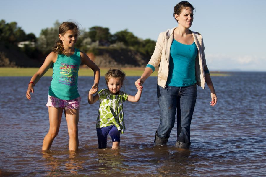 A woman and two children play in the water.