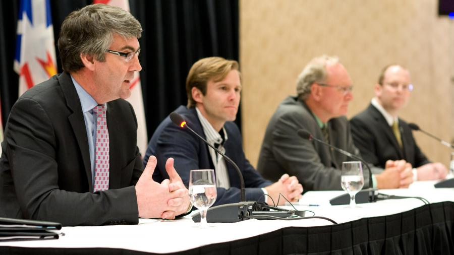 (From left to right) Premier Stephen McNeil, New Brunswick Premier Brian Gallant, Prince Edward Island Premier Wade MacLauchlan and Newfoundland and Labrador Deputy Premier Steve Kent.
