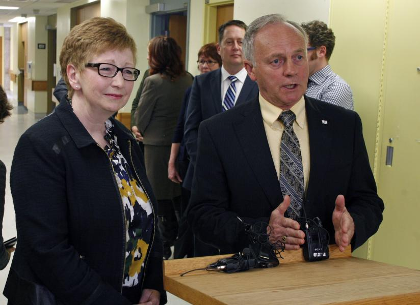 ealth and Wellness Minister Leo Glavine and Janet Knox, Nova Scotia Health Authority CEO, speak to media at the Dartmouth General Hospital