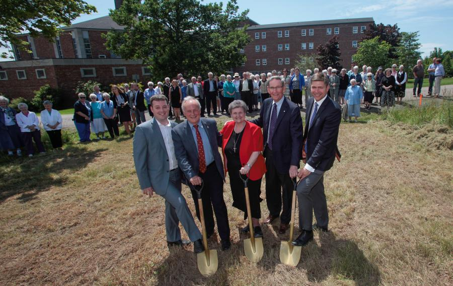From left: Finance and Treasury Board Minister Randy Delorey, Health and Wellness Minister Leo Glavine, Sister Brendalee Boisver, Joe Shannon and Jason Shannon turn the first sod for the new construction.