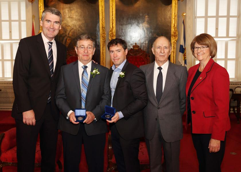 Premier Stephen McNeil, Kenneth MacNeil of Sydney Mines, Dr. Nathan Urquhart, Halifax, Brig.-Gen. Remi Saulnier (ret'd), chair of the Medal of Bravery Advisory Committee and Justice Minister Diana Whalen