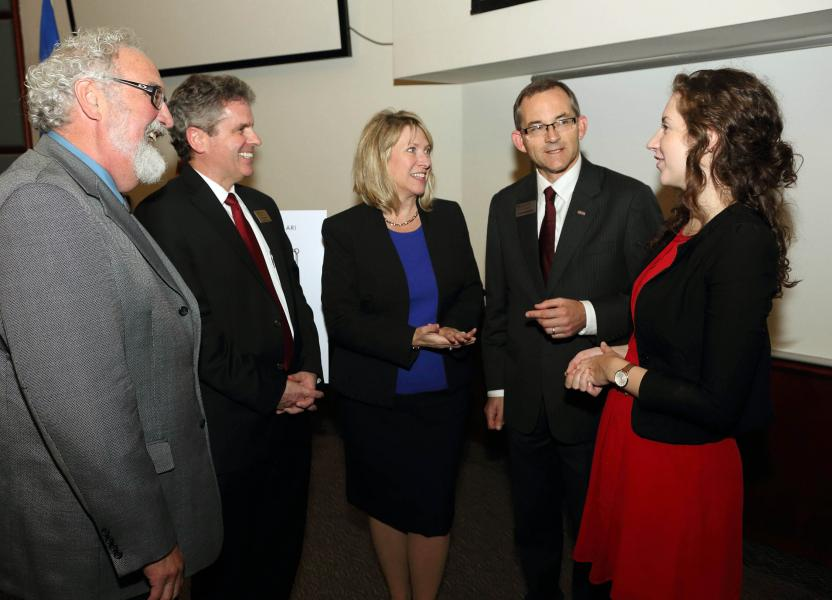 FROM RIGHT: David MacKinnon, Acadia University, dean research and graduate studies; Kevin Vessey, Saint Mary's University, dean faculty of graduate studies and research; Labour and Advanced Education Minister Kelly Regan; David Summerby-Murray, Saint Mary's University president, Rachel MacDonald, Saint Mary's University Student Association.