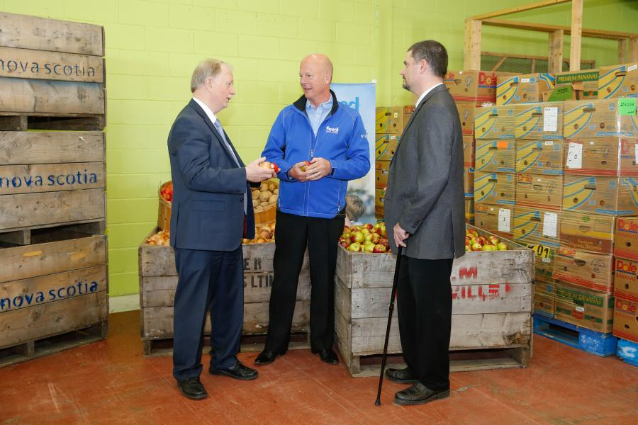 Agriculture Minister Keith Colwell, Nick Jennery, Executive Director, Feed Nova Scotia, and Chris van den Heuvel, President, N.S. Federation of Agriculture announced the new tax credit at Feed Nova Scotia in Halifax