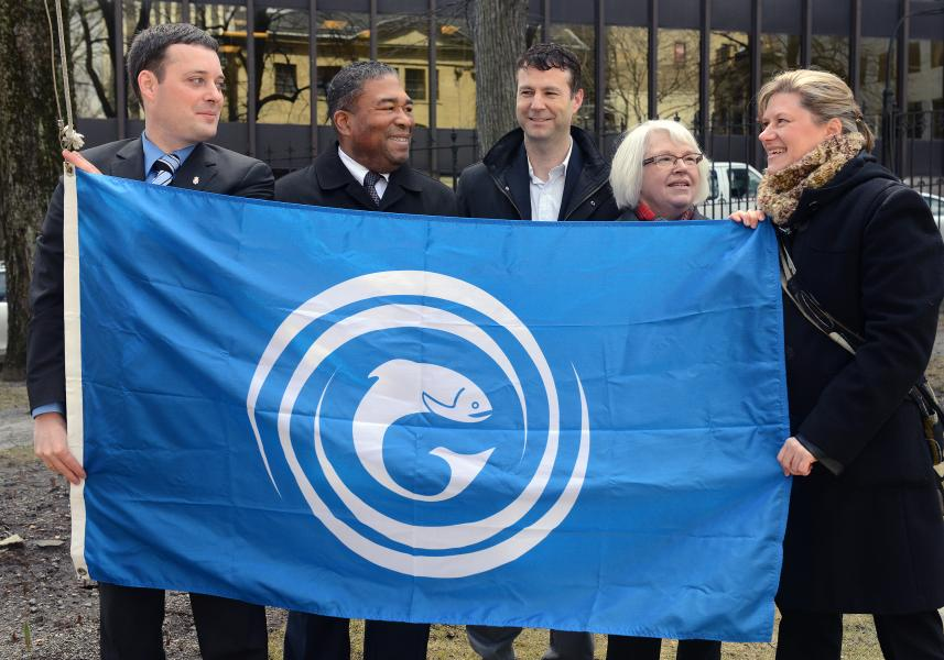 FROM LEFT: Gaelic Affairs Minister Randy Delorey, Communities, Culture and Heritage Minister Tony Ince, Minister of Communities, Culture and Heritage, Glenn Graham, of the Gaelic Council of Nova Scotia, Norma MacLean, of the Gaelic Society of Halifax, and Tonya Fry, of the Gaelic Council of Nova Scotia, with the flag of Gaels, to kick off Gaelic Awareness Month.